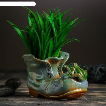 Кашпо керамическое ботинок с лягушкой  синий 8*13*10 см