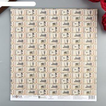 Бумага для скрапбукинга билеты 30.5х30.5 см, 190 гр/м