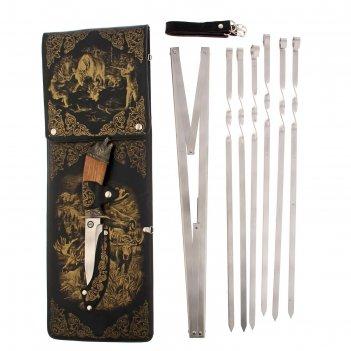 Набор для шашлыка охота на лося (6 шампуров,мангал, нож) 58х20х3,5 см