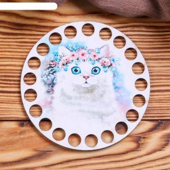 Заготовка для вязания котик с венком 12 см фанера