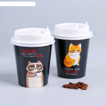 Набор бумажных стаканов для кофе с крышкой кот с кофе, 250 мл  набор 6 шт
