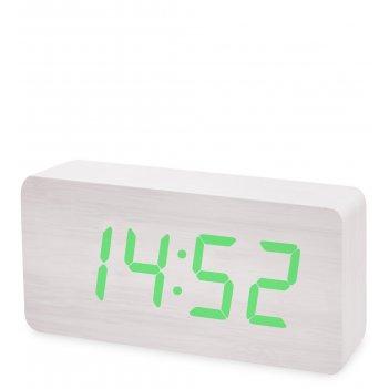Ял-07-03/14 часы электронные бол. (белое дерево с зеленой подсветкой)
