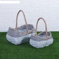 Набор корзин плетеных, ива, береста, 26x21x16/31 см