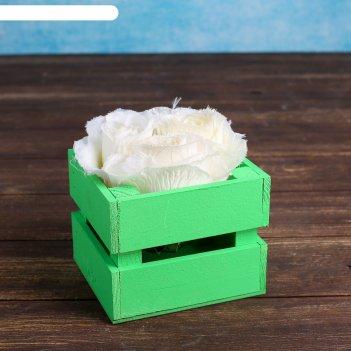 Ящик-кашпо двушка, сердний, зелёное, 11х12х9см