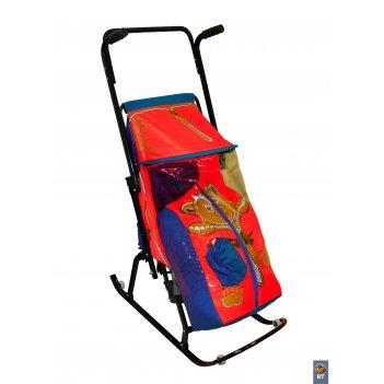 Санки-коляска снегурочка 4-р медвежонок с 4 колесиками синий-красный