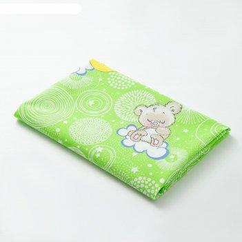 Пеленка collorista мишки 70х120 см, цв.зеленый, бязь 120 гр/м2, 100% хл