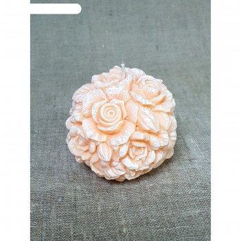 Свеча шар цветочный 11*9 абрикосовый