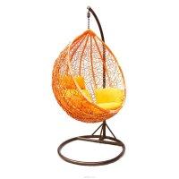 Подвесное кресло-качели на стальной штанге большие, иск. ротанг, оранжевый
