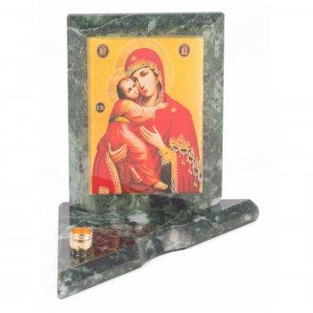 Икона с подсвечником владимирская малая змеевик 95х95х100 мм 350 гр.