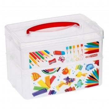 Коробка универсальная с ручкой и декоромart box 2 секции, 24,5х16х16,5  43