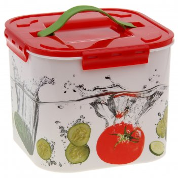 Контейнер пищевой 7 л деко. овощи, цвет красный