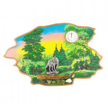 Часы с картиной волк лето 50х32 см