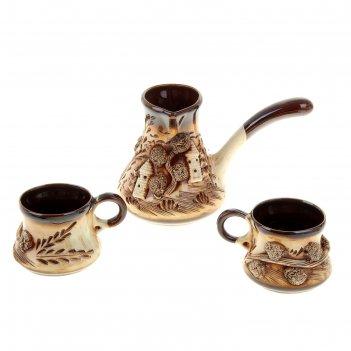 Набор кофейный замки 2 3 предмета (турка + 2 чашки)