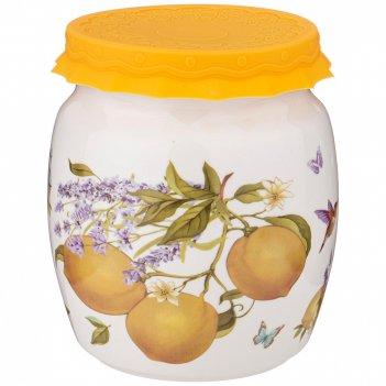 Банка с силиконовой крышкой прованс лимоны 1000мл (кор=12шт.)