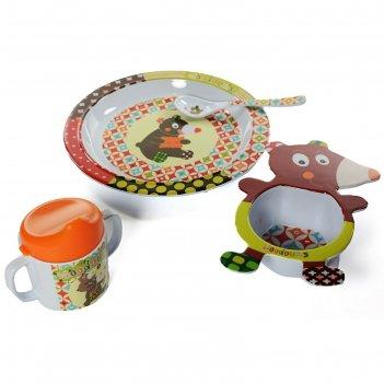 Набор посуды мишка, 4 предмета