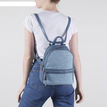 Рюкзак молодёжный, 2 отдела на молниях, 4 наружных кармана, цвет синий