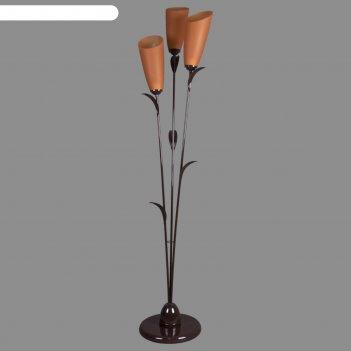 Торшер симпл 3x15вт e27 коричневый 28х28х153см.