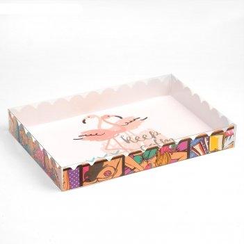 Коробочка для печенья пара фламинго, белый, 22 х 15 х 3 см