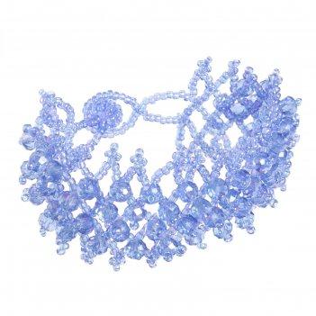 Браслет из бисера плетение бусины, цвет синий