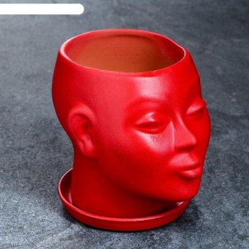 Фигурное кашпо голова 11см красный
