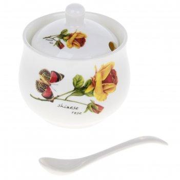 Сахарница с ложкой бабочка и роза 8,5*8,5*10 см