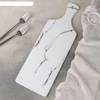 Блюдо для подачи мрамор 44,8х14,8x0,8 см, цвет белый