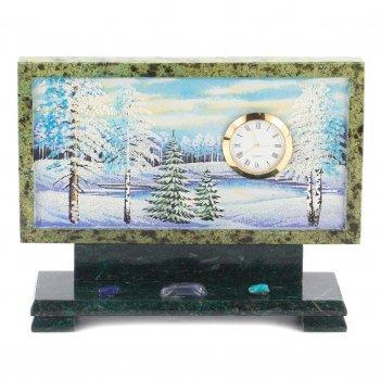 Часы с рисунком зима змеевик 220х70х170 мм 2000 гр.