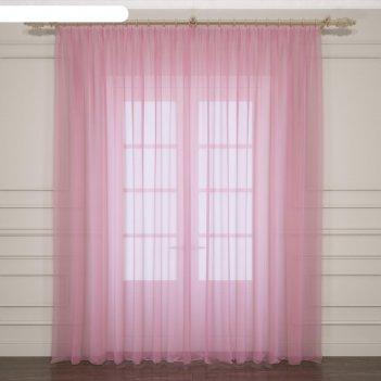 Тюль однотонный 290х260 см, розовый