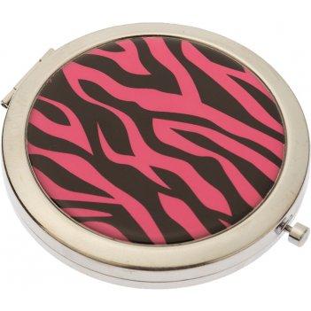 Зеркало dewal beauty серия дикая природа карманное круглое, розовый тигр,