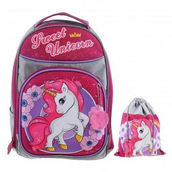 Рюкзак каркасный luris джерри 8 36x27x16 см + мешок для обуви, для девочки