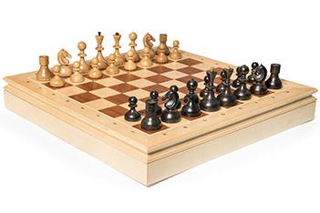 Шахматы стародворянские береза, король 8см, доска ларец 44х44см