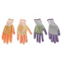Перчатки садовые цветная полоса, р. 7, цвета микс