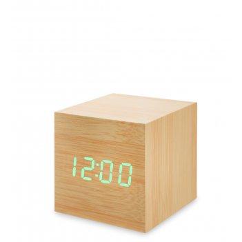 Ял-07-01/ 4 часы электронные мал. (жёлтое дерево с зелёной подсветкой)