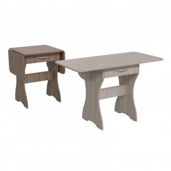 Стол обеденный раскладной с ящиком  600/1200х570х750 ясень шимо светлый