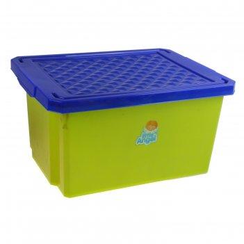 Ящик для игрушек с крышкой, малый 17 л, цвет фисташковый