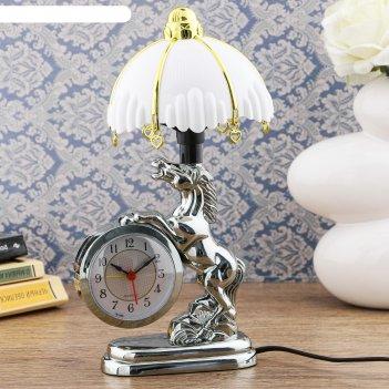Часы-светильник мустанг, с будильником, 27х12 см