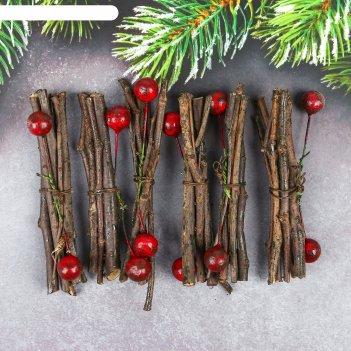 Набор новогоднего декора зимние веточки, 9 см