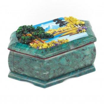 Шкатулка с рисунком осенний пейзаж 170х105х70 мм 1330 гр.