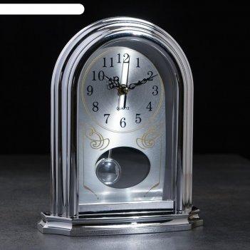 Часы настольные адиан, 1 батарейка 3 ааа, маятник, плавный ход 26х21.8х7 с