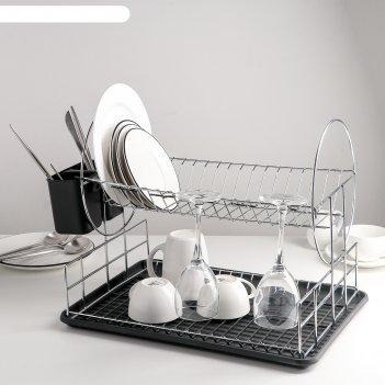 Сушилка для посуды, 2 яруса 39х30х32,5, цвет черный