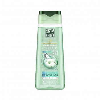 Шампунь-бальзам для волос 2 в 1 чистая линия «хлопковое молочко», 250 мл