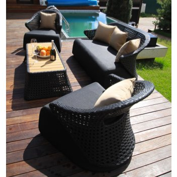 Набор мебели из ротанга лаунж-сет chaild цвет черный