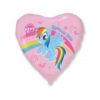 Шар фольгированный 18 «пони, радуга», сердце