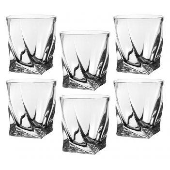Набор стаканов для виски из 6 шт.квадро 340 мл. высота=10 см. (кор=4набор.