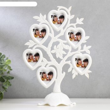 Фоторамка пластик на 6 фото 4,5х3 см дерево с сердцами белая 26,5х19,5х11