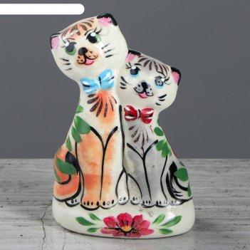 Статуэтка котики свидание цветы 13 см