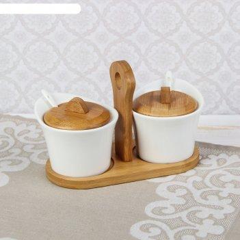 Набор банок для специй с ложками эстет на подставке, 2 шт.