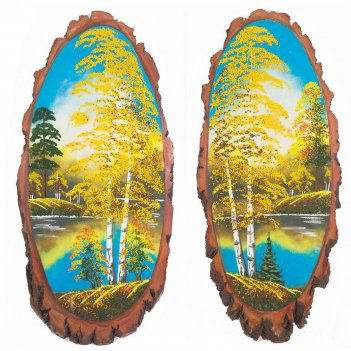 Панно на срезе дерева осень вертикальное 85-90 см