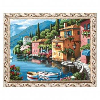 Алмазная мозаика домики у моря 40*30 см, 33 цвета