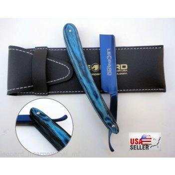 Бритва leopard деревянная синяя ручка лезвие синее 6,5 дюйма